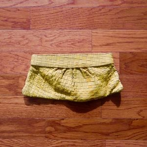 Lauren Merkin Leather Woven Clutch Yellow